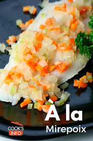 The french flavor base called mirepoix is a combination of onion, carrot and celery generally cut to the same size. A La Mirepoix Cooksinfo