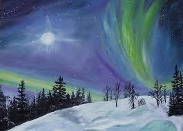 moon painting northern lights by sandra schizkoske