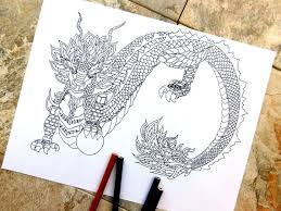 Dragon Coloring Pages Midevil Dragon Chinese Art Dragon Etsy