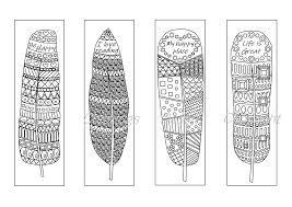 These cute coloring bookmarks are an easy way to have a bunch on hand. Coloring Printable Bookmarks Feathers Coloring Bookmark For Adults By Funny Colorings Thehungryjpeg Com