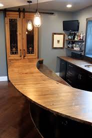 reclaimed semi planks used as a bar top