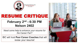 resume critique international business club nc state resume critique