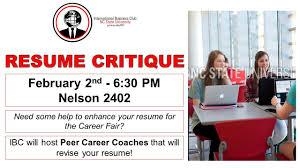 resume critique international business club nc state resume critique