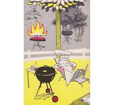 weber published several grilling guides providing instructions on how to grill and touting the benefits of the covered grill like this cartoon from the