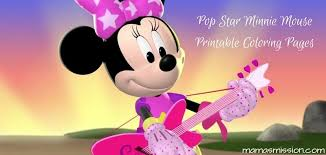Mickey mouse and minnie mouse in love coloring page. Pop Star Minnie Mouse Printable Coloring Pages Friends