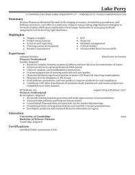 Sample Resume For Financial Services Resume Work Resumee Freees Overview Main Types How To