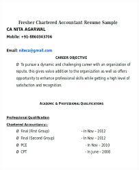 Resume Accountant Sample Fresher Chartered Accountant Sample Resume