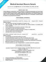 Certified Medical Assistant Resume Souvenirs Enfance Xyz