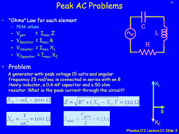 physics lecture resonance and power in ac circuits ppt  peak ac problems c l problem r ohms law for each element
