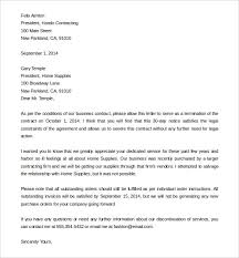 download business service contract termination letter sample letter to terminate a contract
