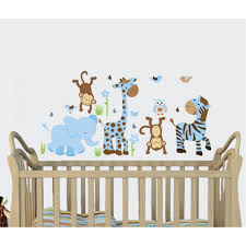 blue brown jungle tree wall decal with giraffe wall stickers for nursery or baby room