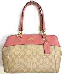 Coach Mini Khaki Vintage Pink Signature Brooke Carryall Satchel Bag F26139