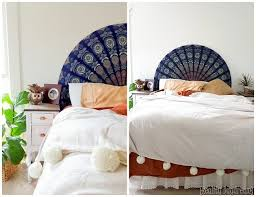 easiest headboard ever use a round beach throw to upholster a half