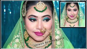 indian muslim bridal makeup tutorial in hindi green glittery eyes म स ल म ब र