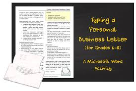 Typing Business Letter Typing A Personal Business Letter Gr 6 8 A Microsoft