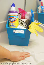 this bathroom cleaning kit for kids includes everything needed to clean the bathroom including a