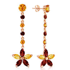 image is loading 14k solid rose gold chandelier earrings with citrines