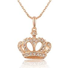 S17 Womens Queen's <b>Crown</b> Necklace Rose Gold Color with <b>Czech</b> ...