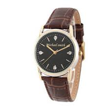 personalized watches for jewelry watches jcpenney personalized mens brown leather 4 diamond strap watch