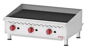 countertop radiant gas char broiler with 3 burners