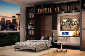 loft with zebra theme wall bed