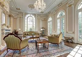 Traditional Formal Living Room With Gold Gilding And Crown Molding With  Fireplace
