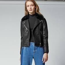 warehouse faux fur collar biker black 1