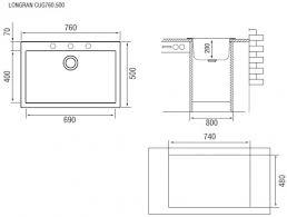 <b>Кухонная мойка терра Longran</b> Cube CUG760.500 - 38 (арт ...
