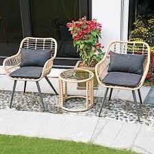 joivi 3 piece patio set outdoor wicker