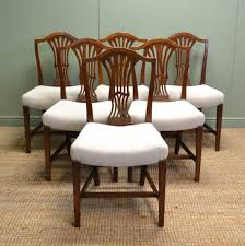 hepplewhite shield dining chairs set: set of six georgian hepplewhite design antique dining chairs