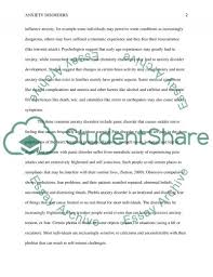 anxiety disorders essay example topics and well written essays related essays anxiety disorders psychology essay