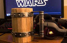 wooden beer mug with a lightsaber handle