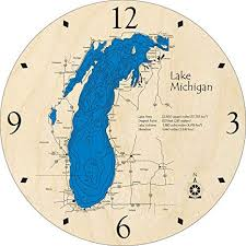 Lake Mi Depth Chart Amazon Com Lake Michigan Great Lakes Gl 3d Clock 17 5
