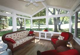 Inspirational Country Sunroom Decors With Red Chairs In Sloped Porch With  White Wooden Floor To Ceiling Windows Frames Designs