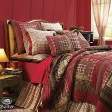 Best 25+ Quilted bedspreads ideas on Pinterest | Bedspreads, Gray ... & Red Brown Plaid Rustic Lodge Log Cabin Country Home Cotton Quilt Bedding  Bed Set Adamdwight.com