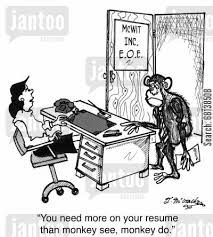 recruiters cartoon humor: 'You need more on your resume than monkey see,  monkey