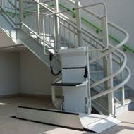 wheelchair stair lift. The Savaria Omega Inclined Platform Lift Handles Inside And Outside Curved Stairs, Multiple Levels Spiral Stairs. Ideal For Access Over Stairs In Wheelchair Stair