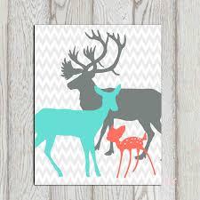 Printable Room Decor Coral Turquoise Gray Boy Girls Bedroom Decor Print Deer Family