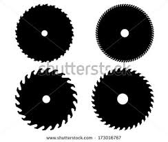hand saw blade silhouette. black silhouettes of circular saw blades, vector hand blade silhouette