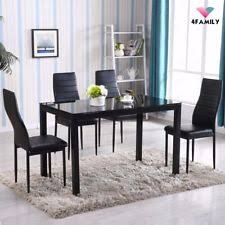metal kitchen table. 5 Piece Dining Table Set 4 Chairs Glass Metal Kitchen Room Breakfast Furniture
