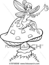 Clip Art Of Elf Fairy Fantasy Cartoon Coloring Page K19756056