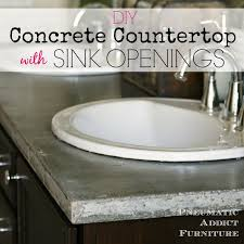 diy concrete countertop with sink openings