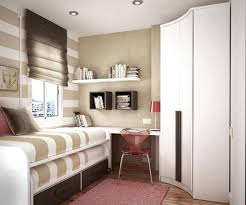 Small Floorspace Kids Bedrooms With Space-Saving Furniture : Beautiful  Beige and White Striped Small Floorspace Kids Bedroom Design with Flo.