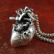 gothic heart necklace antique silver