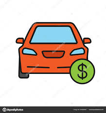 Automobile For Sale Sign Car Dollar Sign Color Icon Automobile Buying Sale Auto