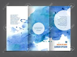 Ebrochure Template Empty Tri Fold Brochure Template Print Blank Watercolor Design