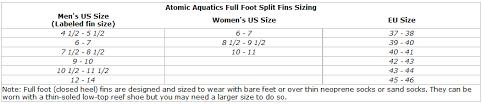 Atomic Fins Size Chart Atomic Aquatics High Performance Full Foot Split Fin For Scuba Snorkeling