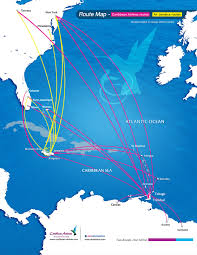 Caribbean Airlines Miles Reward Chart Caribbean Airlines Air Jamaica Route Map Air Jamaica