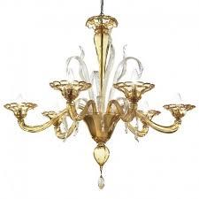 colombina 6 lights murano chandelier amber color