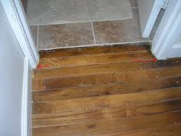 Threshold between hardwood floor and tiling into bathroom